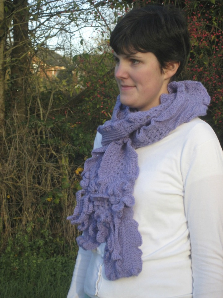 Claire Modelling my Lilac Scarf