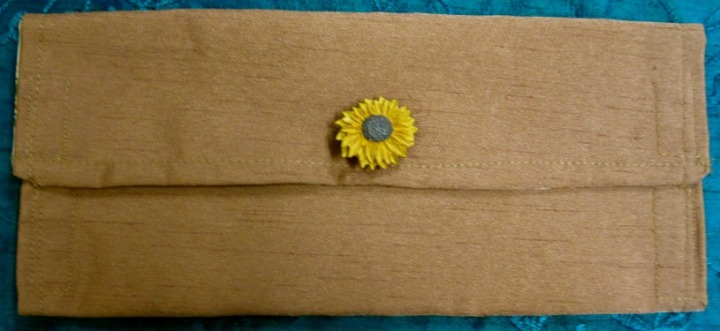 Purse (or pencil case) with sunflower motif