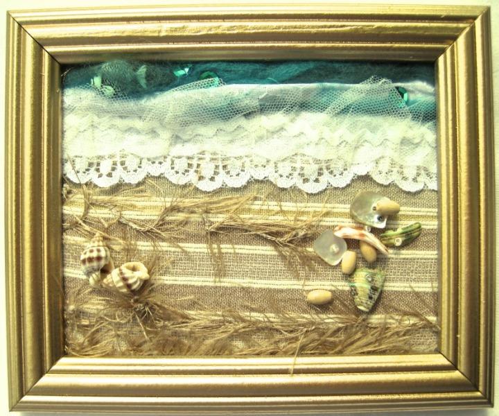 Seashore in gold frame