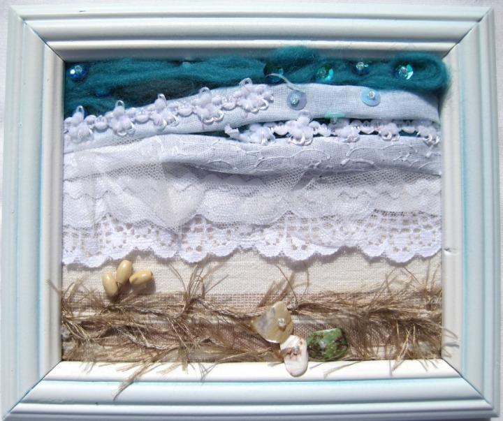 Seashore in White Frame